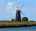 Windmill one of the old windmills on the norfolk broads Royalty Free Stock Photo