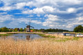Windmill over blue sky in alkmaar north holland Royalty Free Stock Images
