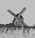 Windmill photo taken in olsztynek folk museum poland made in pencil drawn effect Royalty Free Stock Photo