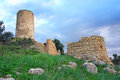 Windmill ruins ancient in the countryside of majorca Stock Images