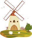 Windmill Sheep Tree Isolated Stock Photo