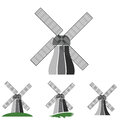 windmill silhouettes set Royalty Free Stock Photo