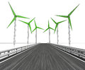 Windmill turbine field around motorway on white illustration Royalty Free Stock Photography