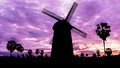 Windmill on twilight time in national park Royalty Free Stock Photography