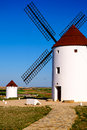 Windmill view of windmills in castilla la mancha spain Royalty Free Stock Images