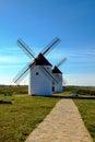 Windmill view of windmills in castilla la mancha spain Stock Photo