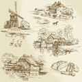 Windmill and watermill hand drawn collection Royalty Free Stock Photos