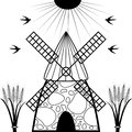 Windmill and wheat ears. Royalty Free Stock Photo