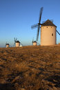 Windmills campo de criptana spain late afternoon sunlight on the windmill in in the la mancha region of central Royalty Free Stock Photography