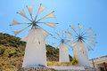 Windmills crete greece traditional at lasithi plateau Royalty Free Stock Photo
