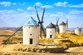 Windmills of don quixote in consuegra castile la mancha spain cervantes europe Royalty Free Stock Photo