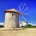 Windmills of greece patmos island view with monastery Royalty Free Stock Photography