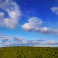 Windmills green electric energy in pine mountain blue sky Stock Photography