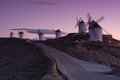 Windmills horizon la mancha spain Stock Photos