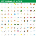 100 windmills icons set, cartoon style