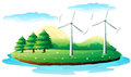 Windmills in the island illustration of on a white background Stock Photos