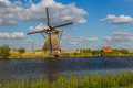 Windmills in Kinderdijk - Netherlands Royalty Free Stock Photo