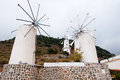 Windmills at lasithi plateau crete greece on Royalty Free Stock Images
