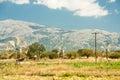 Windmills on Lasithi Plateau, Crete  Greece Royalty Free Stock Photo