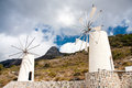 Windmills on lasithi plateau crete greece island Stock Photos