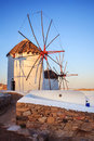Windmills of mykonos famous in island greece Royalty Free Stock Image