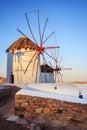 Windmills of mykonos famous in island greece Royalty Free Stock Image