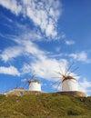 Windmills of mykonos famous in island greece Stock Photos