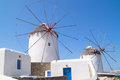 Windmills in mykonos island greece Stock Photos