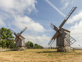 Windmills photo of two at windmill farm on the sunny day Royalty Free Stock Photography