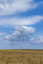Windmills for renewable electric energy production in polish pomerania Royalty Free Stock Photography