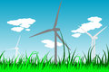 Windmills silhouettes with grass and clouds vector eps illustration Stock Photo