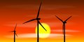 Windmills silhouettes on the sunset background vector eps illustration Stock Photography