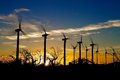 Windmills on sunset Royalty Free Stock Photo