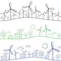 Windmills and town seamless pattern wind turbine background green energy drawing Stock Photo