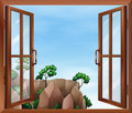 A window across the cliff illustration of Stock Image