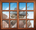 A window across the cliff with a tank illustration of Royalty Free Stock Photos