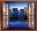 A window across the tall city buildings illustration of Royalty Free Stock Photography