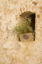 Window alcove background of stone wall with and pot with flower Royalty Free Stock Photo