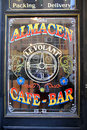 Window of a bar in san telmo buenos aires traditional on may this is located one the oldest neighborhoods Royalty Free Stock Photography