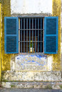 Window blue shutters with in hoi an ancient town hoi an quang nam province vietnam Royalty Free Stock Photo