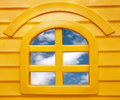 Window with blue sky Stock Photos