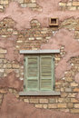 Window on a brick wall of house Royalty Free Stock Photos
