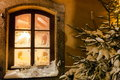 Window at christmas time a festive decorated the Royalty Free Stock Image