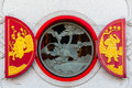 The window circle of theology chinese temple in nonthaburi Royalty Free Stock Images