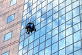 Window cleaner at work Royalty Free Stock Photo