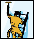 Window Cleaner Worker Cleaning Ladder Retro Stock Images