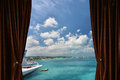 Window with curtain and drapery Royalty Free Stock Photo