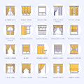 Window curtains, shades line icons. Various room darkening decoration, lambrequin, swag, french curtain, blinds and