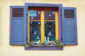 Window decorated for Christmas in French or German town Royalty Free Stock Photo