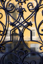 Window decoration historical with defocused street reflections in the glass Royalty Free Stock Photo